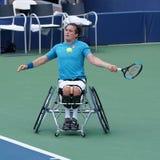 Великобританский профессиональный теннисист Гордон Reid кресло-коляскы в действии во время США раскрывает людей 2017 кресло-коляс стоковые изображения