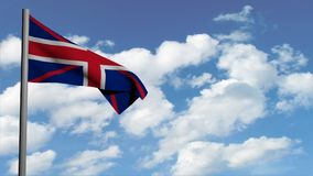 Великобританский флаг на предпосылке с белыми облаками, анимации неба компьютера 3d, представляет видео иллюстрация штока