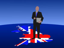 великобританский человек компьтер-книжки Стоковое Фото