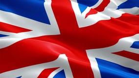 Великобританское видео флага Юниона Джек развевая в ветре Реалистическая предпосылка флага Великобритании Крупный план 1080p полн иллюстрация вектора
