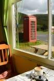 Великобританское кафе и Phonebox Стоковое Фото