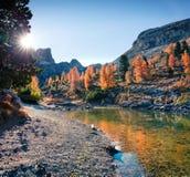 Великолепный взгляд озера Limides Красочное утро осени в доломите Альпах, пропуск Falzarego, lacattion Ampezzo ` Cortina d, Итали стоковое фото rf