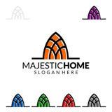 Величественный дом, дизайн логотипа вектора недвижимости с уникально домом Стоковое Фото