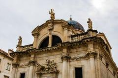Величественный собор в старом городке Дубровнике, известное историческое и touristic назначение в Европе стоковое фото rf