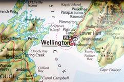 Веллингтон на карте Стоковые Фотографии RF