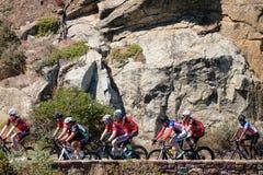 Велосипедисты задействуя в peleton на приводе пика Chapmans, Кейптауне, Южной Африке Они подготавливают для гонки Argus стоковое фото