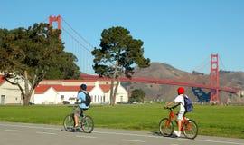 велосипедисты моста Стоковые Изображения RF