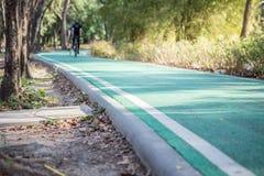 Велосипедисты на майне велосипеда в парке стоковые фотографии rf