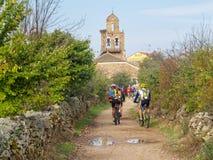 Велосипедисты Camino - Санта Каталина de Somoza стоковые фотографии rf