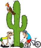 Велосипедист бегуна людей утомлянный около кактуса Иллюстрация вектора