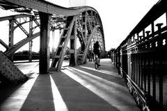 Велосипедист на мосте в после полудня Стоковое Фото