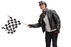 Велосипедист развевая checkered флаг гонки Стоковые Изображения RF