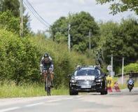 Велосипедист Silvio Herklotz - Критерий du Dauphine 2017 стоковое изображение rf