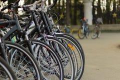 Велосипеды в аренду припаркованные в группе стоковое изображение