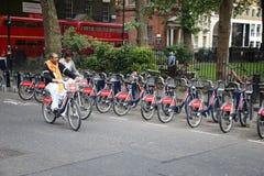 Велосипеды проката Лондона Стоковые Изображения RF