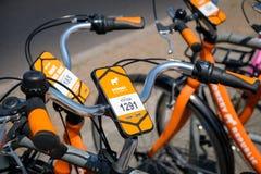 Велосипеды республики осла для велосипеда ренты предлагая деля в Стоковые Изображения RF