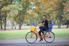 Велосипед брата и сестры задействуя на парке стоковые фото