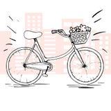 Велосипед вектора эскиза Элемент нарисованный рукой изолированный на концепции уклада жизни Плоская предпосылка города Стиль ` s  Стоковые Изображения RF