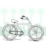 Велосипед вектора эскиза Элемент нарисованный рукой изолированный на концепции уклада жизни Плоская предпосылка города Стоковые Изображения RF