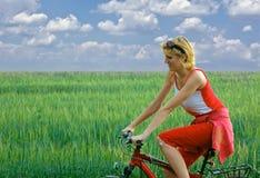 велосипед девушка Стоковые Фото