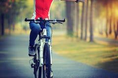 велосипед катания велосипедиста в тропическом парке Стоковые Фото