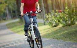 велосипед катания велосипедиста женщины в тропическом парке весны Стоковые Изображения