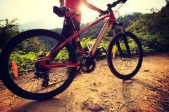 Велосипед катания женщины на горной тропе леса Стоковое Фото