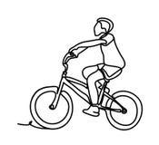 Велосипед катания мальчика Непрерывная линия чертеж Изолировано на белой предпосылке Monochrome вектора, рисуя линиями Стоковое Изображение