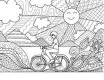 Велосипед катания молодого человека счастливо в красивой природе для взрослой страницы и другого книжка-раскраски элемент дизайна Стоковое фото RF