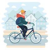 Велосипед катания человека в городском ландшафте иллюстрация вектора