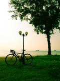 Велосипед на луге и виде на море Стоковое Изображение RF