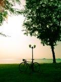 Велосипед на луге и виде на море Стоковая Фотография RF