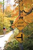 велосипед тропка стопа знака Стоковая Фотография RF