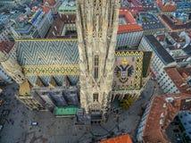 ВЕНА, АВСТРИЯ - 10-ОЕ ОКТЯБРЯ 2016: Крыша собора ` s St Stephen, вены, Австрии Стоковое Изображение