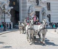 ВЕНА, АВСТРИЯ - 3-ЬЕ ИЮЛЯ 2015: Экипаж лошади стоковые фотографии rf
