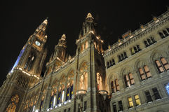 вена ночи здание муниципалитет стоковое фото rf
