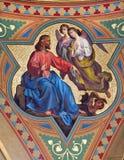 Вена - фреска заманчивости сцены Иисуса в бортовой ступице церков Altlerchenfelder стоковое изображение