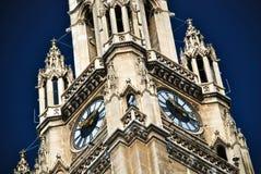 вена rathaus часов belltower Стоковые Фотографии RF