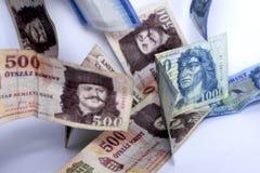 Венгерские бумажные форинты Венгерские деньги на белой предпосылке стоковая фотография rf