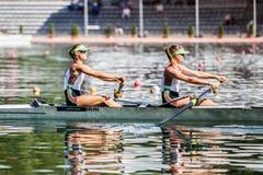 Венгерские спортсмены на rowing конкуренции чашки мира гребя Стоковое Изображение RF