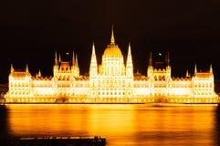 Венгерский парламент на ноче, Будапешт Стоковое Изображение RF