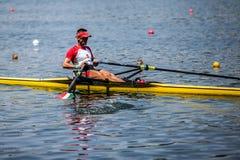 Венгерский спортсмен на rowing конкуренции чашки мира гребя стоковое изображение