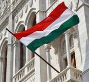 Венгерский флаг в окне здания парламента Стоковое Изображение RF