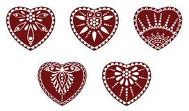 Венгерский фольклорный орнамент сердца Стоковые Изображения