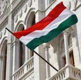 Венгерский флаг в окне здания парламента, Будапешт Стоковые Изображения RF