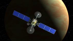 Венера на предпосылке, выдуманный спутник замечания летает в прошлом, анимация 3d Текстура планеты была создана в бесплатная иллюстрация