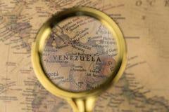 Венесуэла на карте стоковая фотография