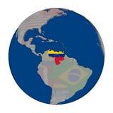 Венесуэла на политическом глобусе Стоковое Изображение
