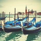 Венецианская лагуна с причаленными гондолами Стоковая Фотография RF