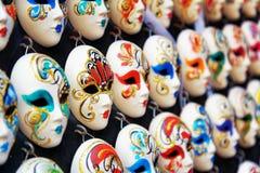 Венецианские анфас маски для масленицы в магазине Италия venice Стоковое фото RF